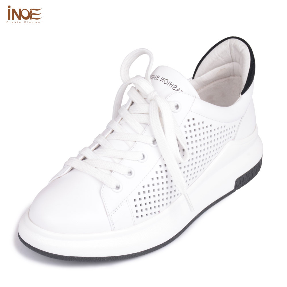 INOE 2017 new fashion style genuine cow leather women casual spring summer shoes leisure lace up girls loafers flats white black 2016 spring summer new old leather lace round japanese casual shoes retro fashion leather shoes