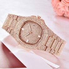 Часы женские класса люкс Для женщин часы Украшенные стразами кварцевые часы из розового золота для девочек золотые женские наручные часы Montre Femme часов A40