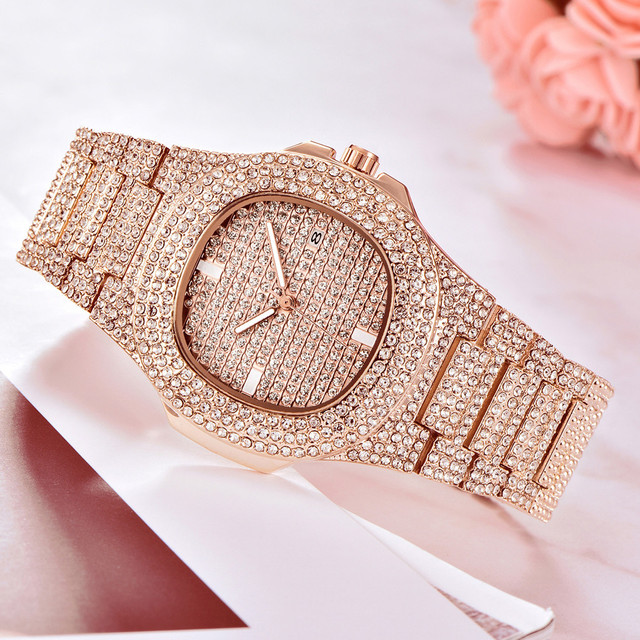 Brand Luxury Women Dress Watch Rhinestone Ceramic Crystal Quartz Watches Rose Go