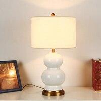 Modern Minimalist European Creative Ceramic Gourd Fabric E27 Dimmerable Table Lamp Fro Living Room Bedroom Study Etc H 60cm 1086