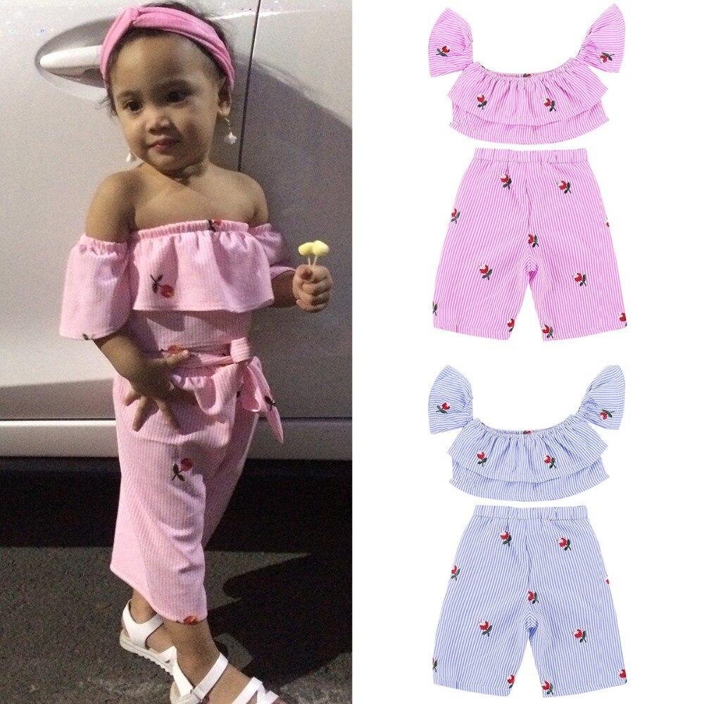 492248d89 2018 New Toddler Kids Baby Girl Off shoulder Embroider Flower Striped  Layered Crop Tops+Wide