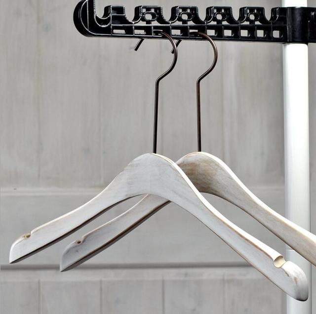 Free Shipping] Luxury White Antique Wooden Coat Hanger, Punk Sepia