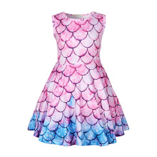 New childrens clothing summer Cosplay  mermaid colorful fish scale girls cartoon performance show dress