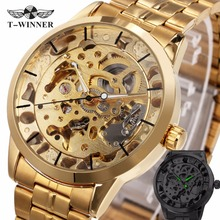 WINNER Luxury Skeleton Retro Dress Men's Automatic Mechanical Wristwatch Watches Man Metal Strap Top Brand Golden Case +GIFT BOX