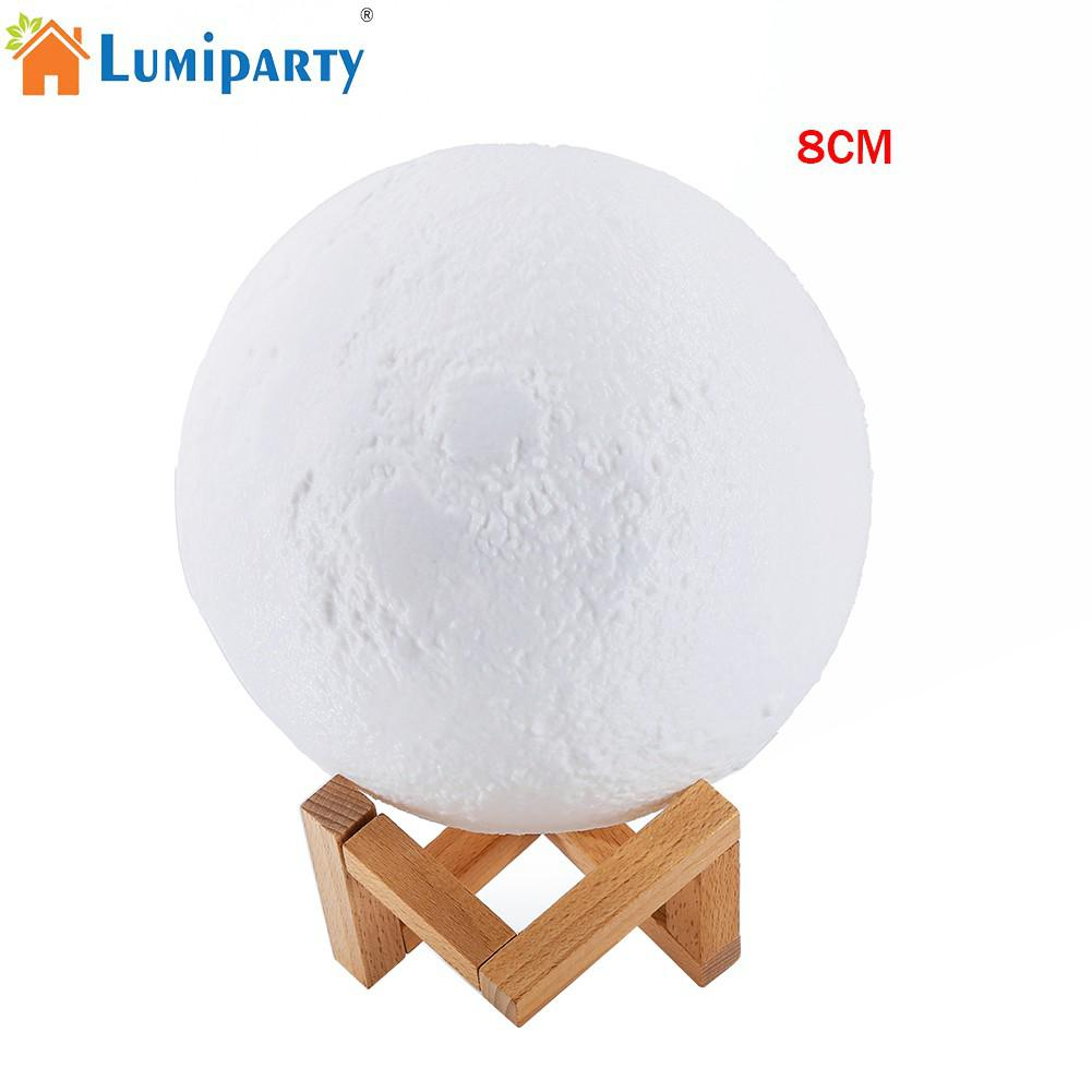 LumiParty 8cm Simulation 3D Moon Night Light 3 LEDs USB Rechargeable Moonlight Desk Lamp with Wood Base