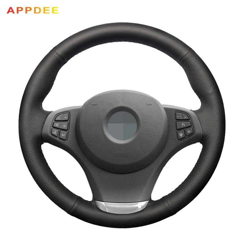 APPDEE Noir Véritable En Cuir DIY cousu Main Couverture De Volant de Voiture pour BMW E83 X3 2003-2010 E53 x5 2004-2006