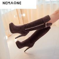 2017 New Arrive Fashion Women Boots Sexy High Heels Knee High Boots Flock Beading Women S
