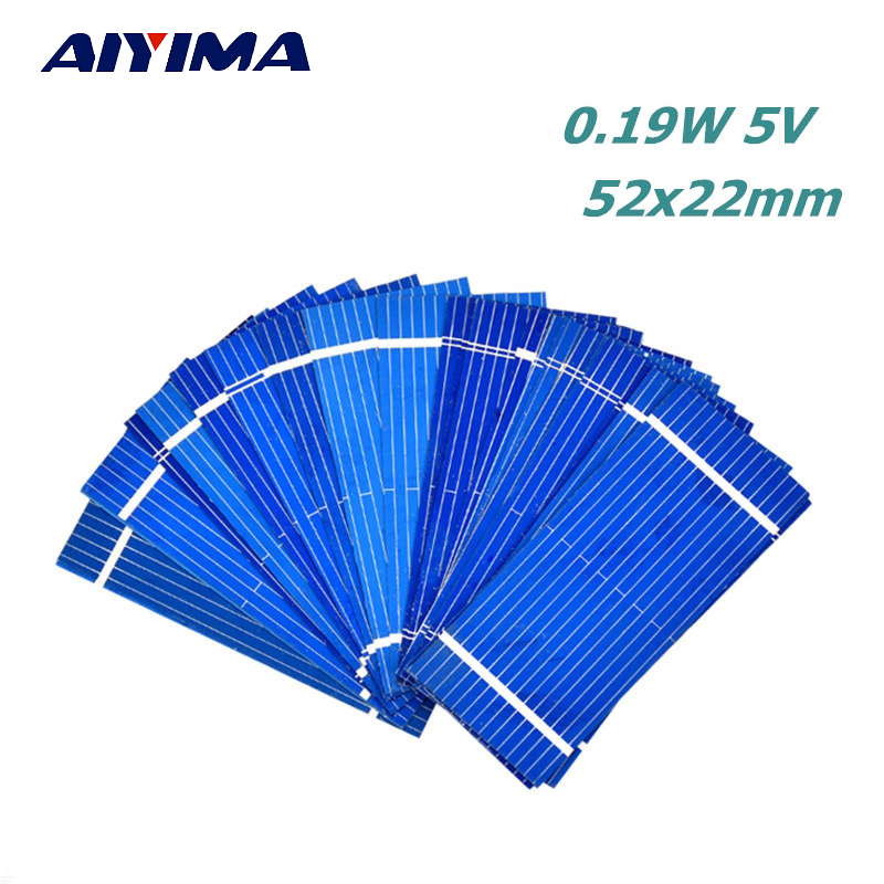 Aiyima 100pcs Solar Panel China Painel Solar Sunpower Polycrystalline DIY Solar Battery Charger 52*22mm 0.19W 0.5V