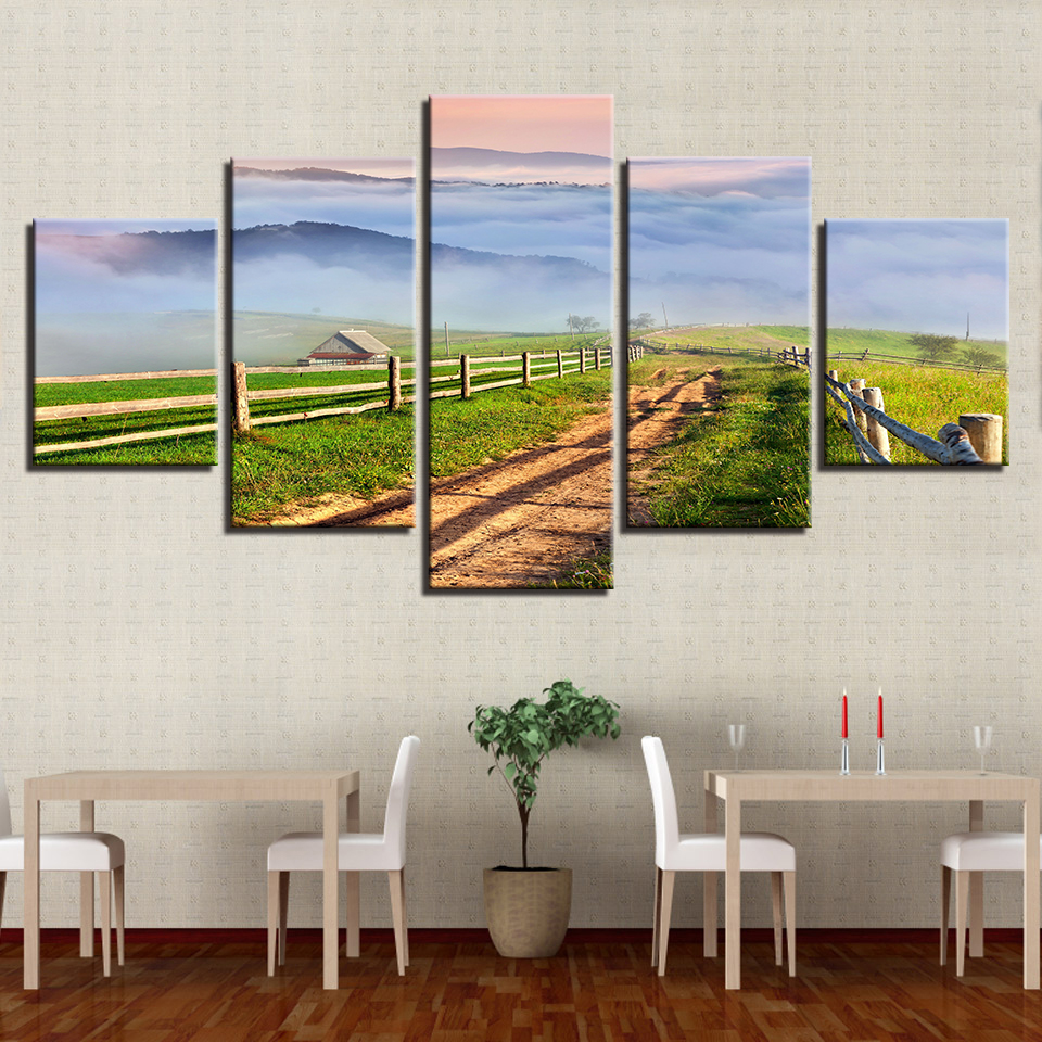 Living Room Decor Wall Art Pictures 5 Pieces Country Field Beautiful Landscape Paintings Frame Modular Canvas Artworks HD Prints