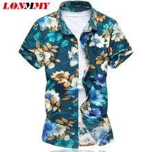 LONMMY M-6XL Floral men shirt dress camisetas Casual flower mens shirts Fashion imported clothing Short sleeves 2018 summer
