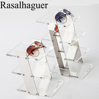 Acrylic Floor mount Glasses Frame Sunglasses Display Stand Sunglasses Display Stand silver/ rose gold colors 3/4 layers Luxury