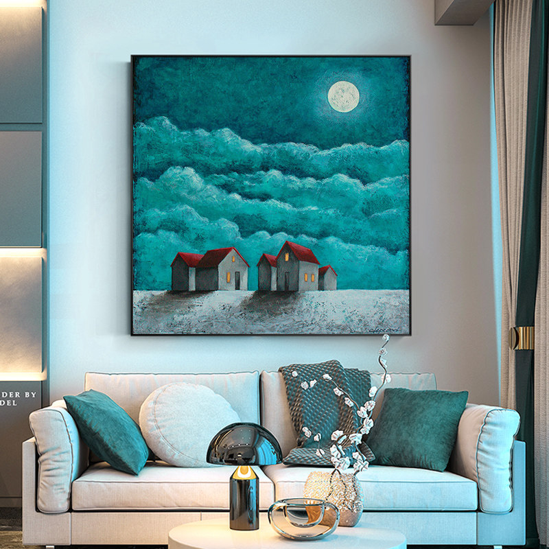 100 Hand Painted Silent Night Blue Sky Art Painting On Canvas Wall Art Wall Adornment picture Painting For Live Room Home Decor in Painting Calligraphy from Home Garden