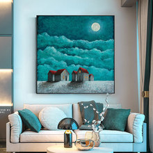 100% Hand Painted Silent Night Blue Sky Art Painting On Canvas Wall Adornment picture For Live Room Home Decor