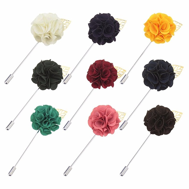 77a2e729ce31c Fabric Flower Lapel Pin Elegant Women Men Lapel Flower Pin Wedding Party  Suit Dress Decoration Brooch Pin Boutonniere Corsage