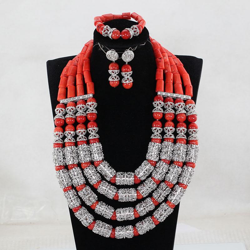 Fantastische Hochzeit Korallen Perlen Afrikanischen Schmuck Sets New - Modeschmuck - Foto 6