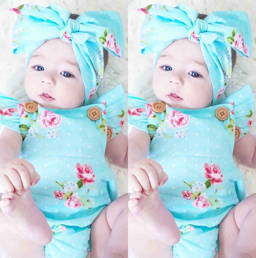 Bayi Perempuan Floral ONE-Pieces Baju Monyet Sunsuit Headband Pakaian Set 0-24 M