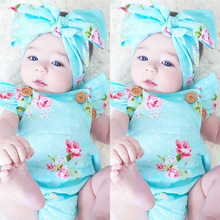 Recién Nacido niñas Floral traje mameluco conjunto de ropa con cinta para cabello 0-24M