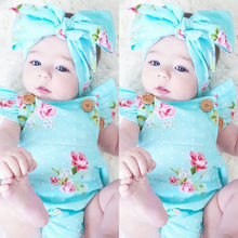 Newborn Baby Girls Floral One-pieces Romper Sunsuit Headband Clothes