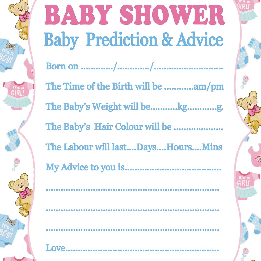 Fengrise Baby Shower Card Prediction Advice Souvenir Cards Mom To Be Decorations New Mummy Event Party Supplies Boy In Invitations From