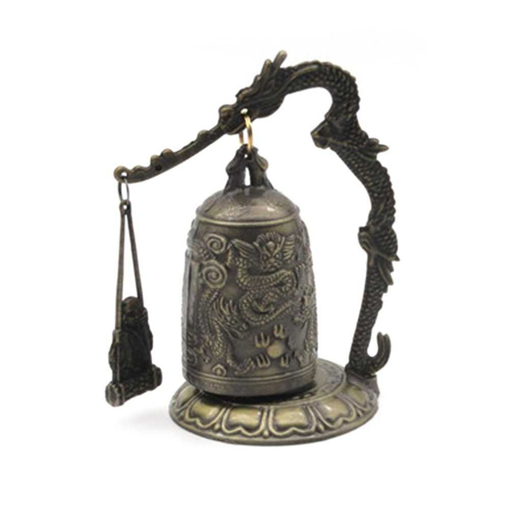 Vintage Dragon Bell Hang Decoration Buddhist Bell Ornament Good Luck Bell Bronze Lock Monk Home Office Decoration Artwork Hot