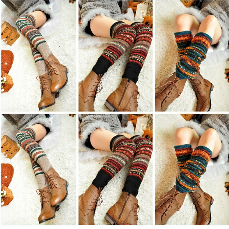 WEIXINBUY Women Winter Elegant Over Knee Long  Knit cover Patchwork Colorful Ladies Crochet Vintage Leg Warmers Legging Chic 2
