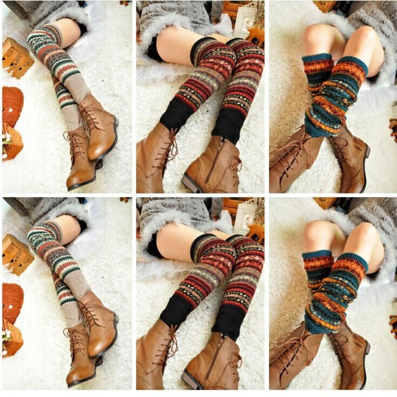 WEIXINBUY Women Winter Elegant Over Knee Long  Knit cover Patchwork Colorful Ladies Crochet Vintage Leg Warmers Legging Chic HTB1tujRgwnH8KJjSspcq6z3QFXa5