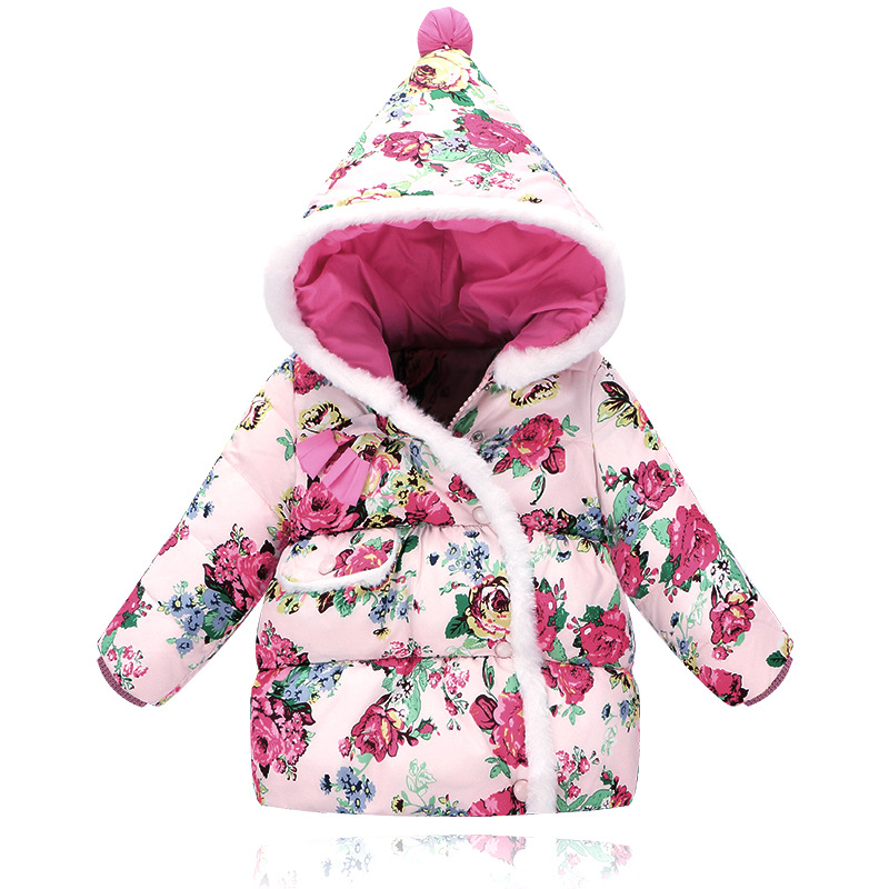 ФОТО Girls Baby Coat Jacket Girls Winter Coat Children'S Parkas Winter Jackets Cotton Hooded Novelty Toddler Baby Girls 2016 Fashion