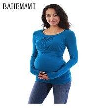 maternity Nursing tee Mom shirt Round Neck Long Sleeve top Pregnant Woman Jacket pregnancy tshirt women breastfeeding clothes