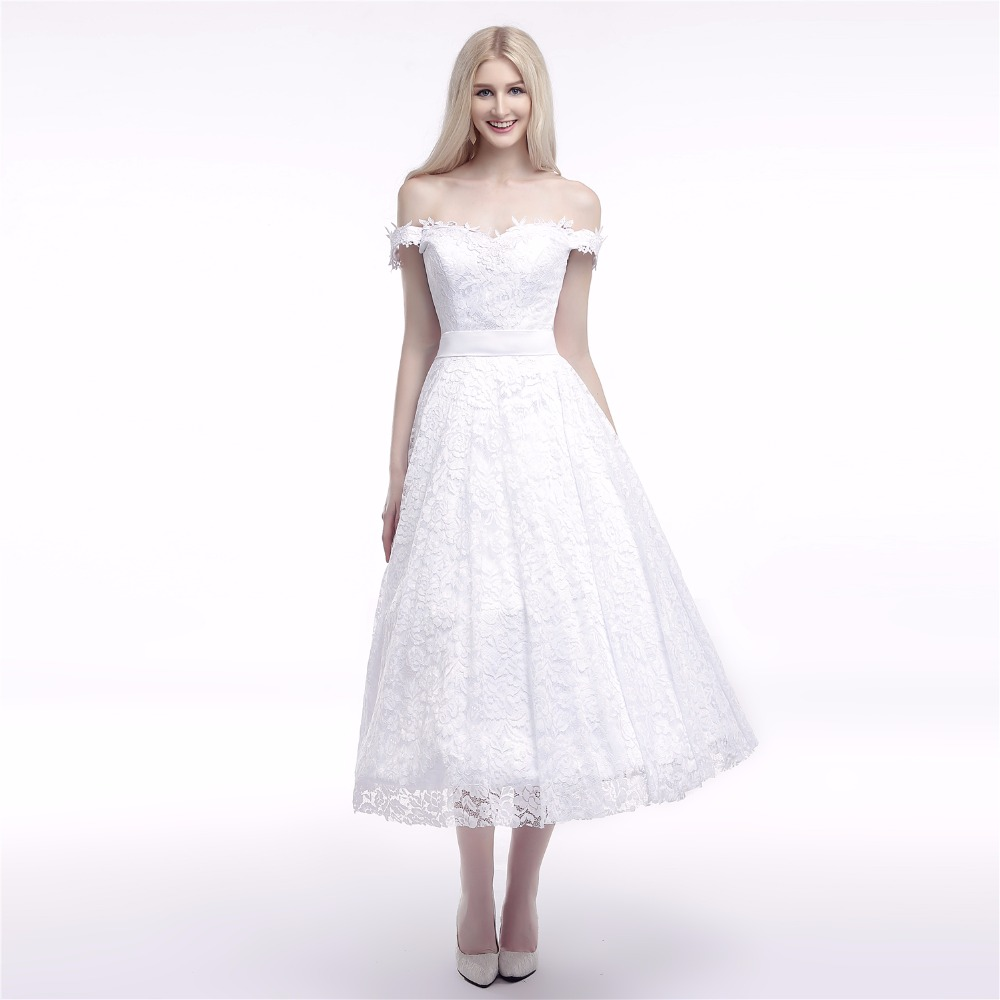 Tea Length Lace Off The Shoulder Wedding Dress