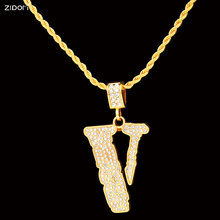 Men Gold color Hip hop style V shape pendant necklaces 75cm twisted chain bling bling necklace fashion jewelry Creative Gifts(China)
