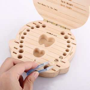 Hair-Tooth-Collection Image Milk-Teeth-Box Wooden Baby-Growth Girl/boy Souvenirs Recording