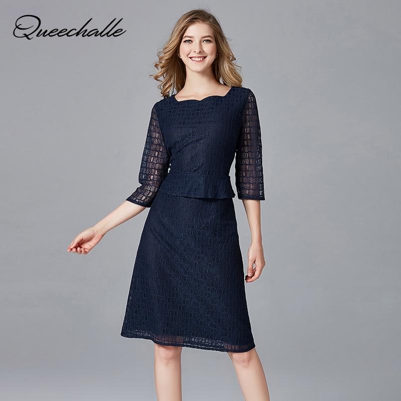 Queechalle nouveau 2019 automne robe bureau dame évider 3/4 manches mince élégant dentelle robe 5XL grande taille femmes robe bleu profond