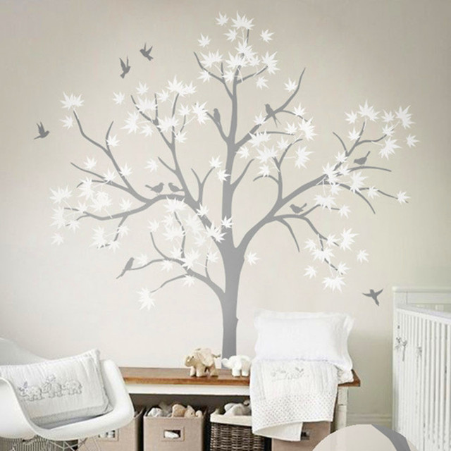 Huge White Tree Wall Decoration Tree And Birds Wall Decal Vinyl Sticker  Nursery Tree Wallpaper Wall