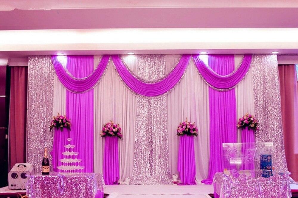 Esprimere la spedizione 3x6 M meter libero silk ice wedding fondali di scena decorazione romantica curtain nozze con festoni paillettes Js-67