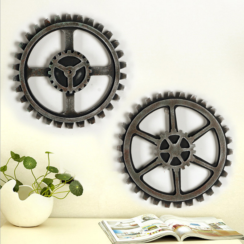vintage industrial age gearwheel wood craft home bar cafe wall decoration hanging ornaments retro wooden wheels