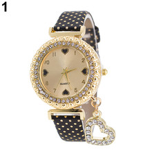 Fashion Women Bracelet Bangle Slim Faux Leather Rhinestone Quartz Wrist Watch layered rhinestone faux leather bracelet