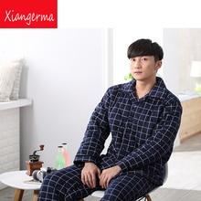 Зимние Для мужчин пижамы отворот устанавливает мужчины мужской пижамы повседневные штаны хлопок Большие размеры мужские домашние комплекты Бесплатная доставка