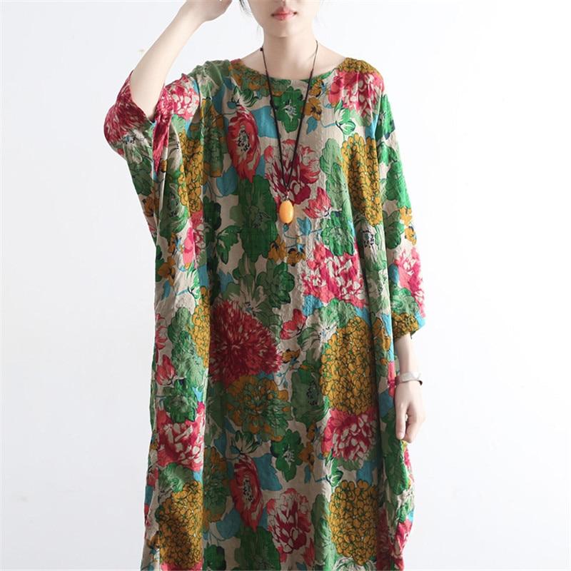 SCUWLINEN Vestidos 2019 Ljetna haljina Vintage Ispis O-neck ogrtač - Ženska odjeća - Foto 5