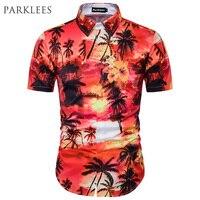 3D Palm Tree Hawaii Gömlek Erkekler 2017 Yaz Marka Tasarım Mens Meslek Plaj Gömlek Casual Kısa Kollu Adam Camisa Sosyal gömlek