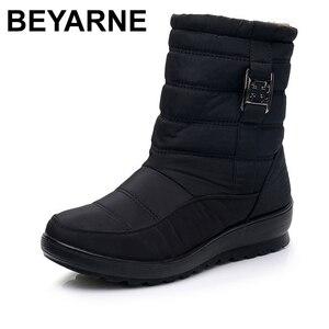 Image 1 - BEYARNE בתוספת גודל עמיד למים גמיש אישה מגפי באיכות גבוהה חם פרווה בתוך שלג מגפי חורף נעלי אישה calzado mujer
