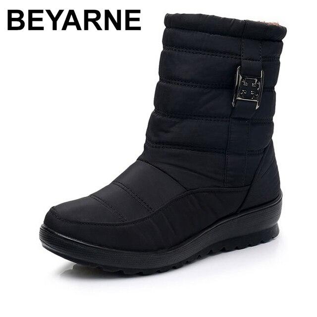 BEYARNE בתוספת גודל עמיד למים גמיש אישה מגפי באיכות גבוהה חם פרווה בתוך שלג מגפי חורף נעלי אישה calzado mujer