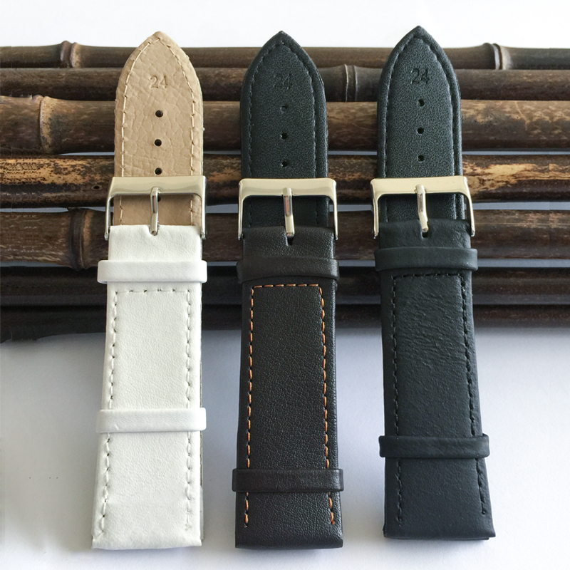 matte PU watch leather strap 24mm Women 2017 factory selling popular durable watchband 24 mm straps for watches for men X012 new matte red gray blue leather watchband 22mm 24mm 26mm retro strap handmade men s watch straps for panerai