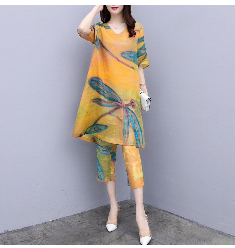 2019 Summer Chiffon Printed Two Piece Sets Outfits Women Plus Size Short Sleeve Long Tops And Cropped Pants Vintage Elgant Suits 27