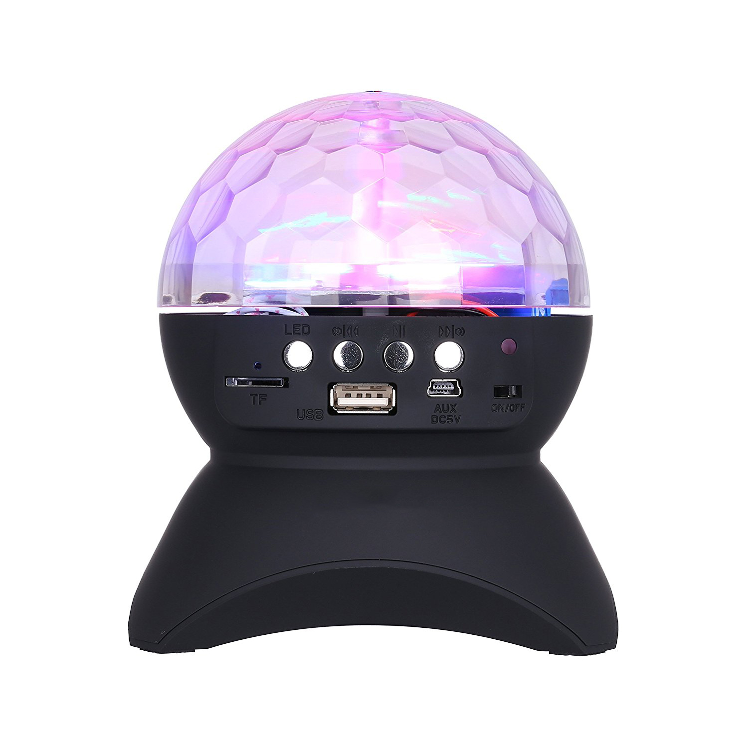 Led Stage Light with Wireless Bluetooth Speaker Support TF Card , Music , FM radio with USB for Parties , DJ etc. - Black