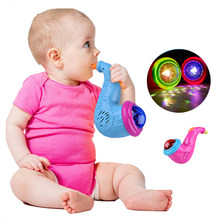 New Cute Sax LED Flashing Musical Projector Toys Children Baby Instrument Glowing Birthday Gifts Color Random(China)
