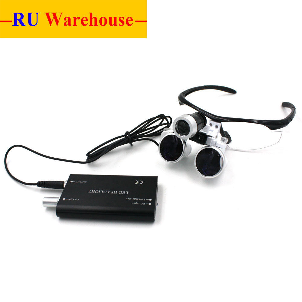 RU Warehouse 3.5X420mm Dental Loupes Surgical Glasses with LED Head Light Lamp CE Proved Surgical Magnifier джемпер warehouse warehouse wa009ewven17