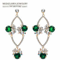 Neoglory Austria strass & circón pendientes largos elegante europeo diseño geométrico Rosa oro Color mujeres moda señora venta