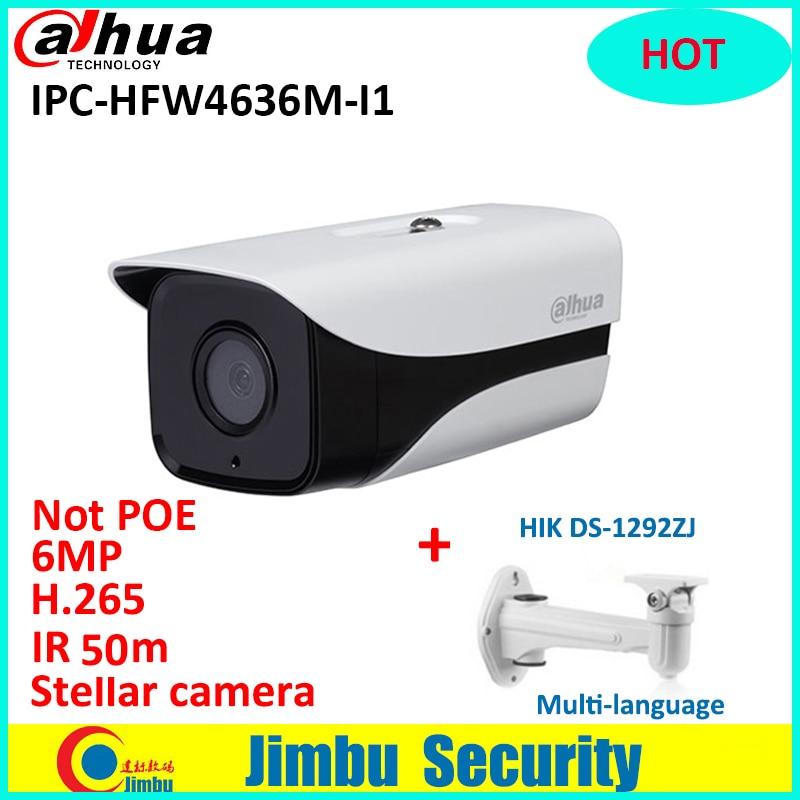 Starlight Dahua 6MP IPC-HFW4636M-I1 3DNR WDR Alarme Locale H.265 IR50m avec support multi-langue Bullet ip caméra