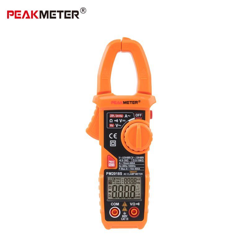 PEAKMETER PM2018S Portable AUTO Smart Digital clamp meter Multimeter AC current Voltage Resistance Continuity Measurement Tester