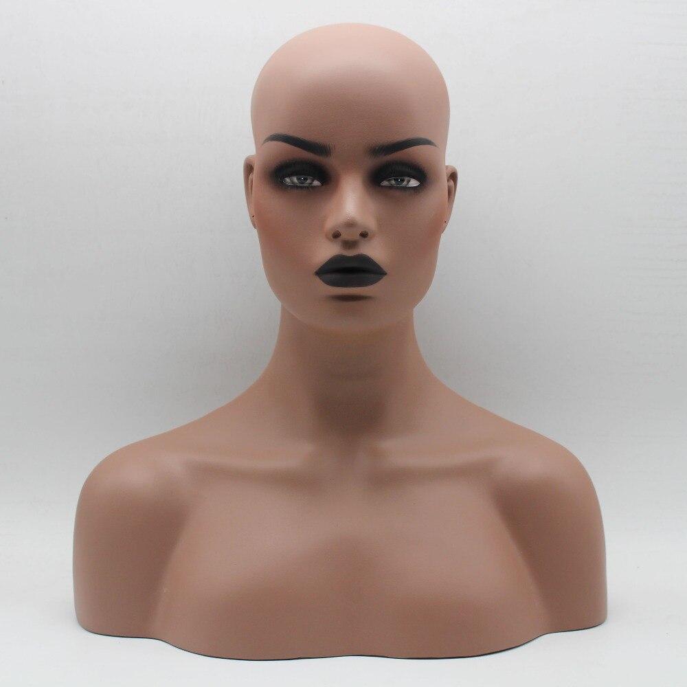 Dark Skin Black Lip Female Realistic Fiberglass Mannequin Head Bust Sale For Wig Jewelry And Hat